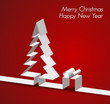 Merry Christmas card made from paper stripe