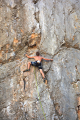 Climber on Sistiana rock, Trieste