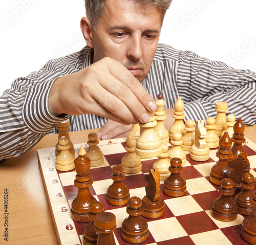The chess player on a white background