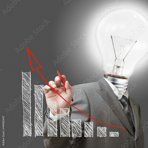 bulb man draw a chart business as concept