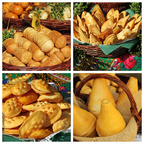 collage with oscypek cheese, typical for Malopolska region, Krak