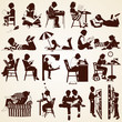 Children silhouettes, vector set of children  reading, learning