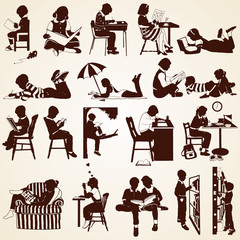 Children silhouettes, vector set of children  reading, learning