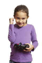 Girl playing games console