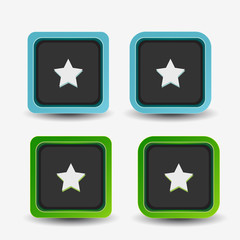 Vector square buttons with star sign