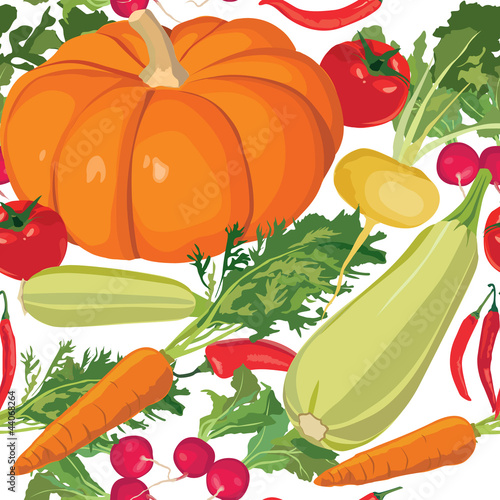 seamless background with vegetables - pumkins, carrot, tomato