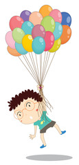 a boy with balloons