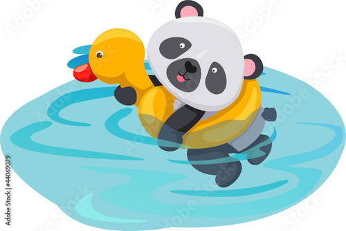 Tuinposter Rivier, meer panda swimming with duck tube
