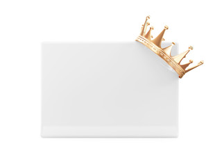 Golden Crown on Blank Board isolated on white background
