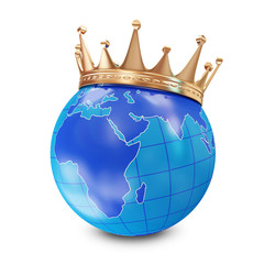 Miniature Globe with Golden Crown isolated on white background