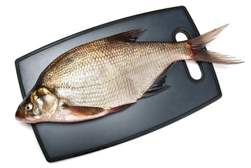 Fresh fish bream on a cutting board on a white background