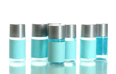 cosmetic bottles, isolated on white.