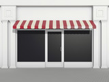 Shopfront - classic store front with burgundy awnings