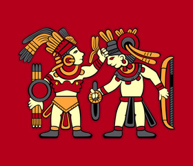 Aztec redskin warriors starting to fight
