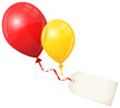 2 Flying Balloons Red/Yellow & Beige Label