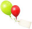 2 Flying Balloons Green/Red & Beige Label