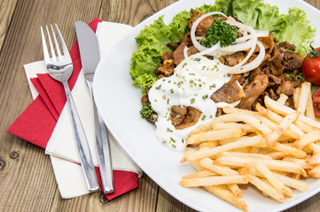 Plate with Chips and fresh Kebab