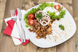 Plate with Kebab and Rice