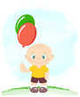 Little boy with toy balloons