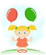Little girl with toy balloons