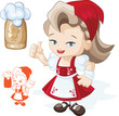Cute blond beergirl in red dirndl