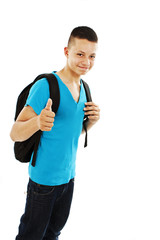 Casual teenager preparing to school showing OK sign