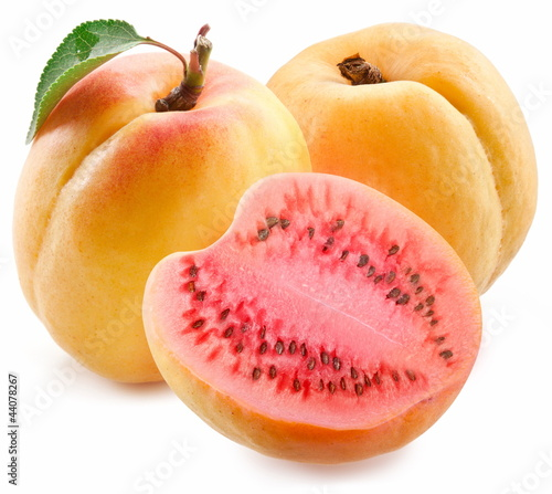 Flesh apricot cut ripe watermelon.