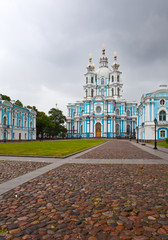 View on Smolnyi  cathedral (Smolny Convent) St. Petersburg.