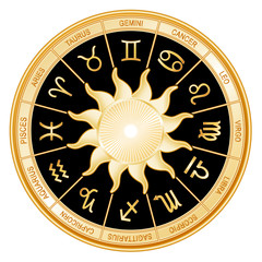 Horoscope Sun Signs, twelve gold Zodiac symbols, black mandala