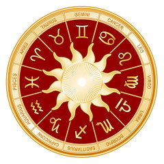 Horoscope Sun Signs, twelve gold Zodiac symbols, red mandala