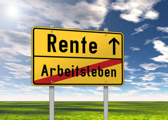 """Ortsschild """"Rente / Arbeitsleben"""""""