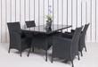 Leinwanddruck Bild - Rattan Gartenmöbel 4 Stühle 1 Tisch in anthrazit mit Topfpflan