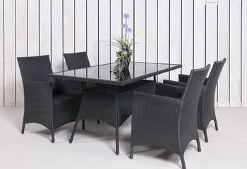Rattan Gartenmöbel 4 Stühle 1 Tisch in anthrazit mit Topfpflan