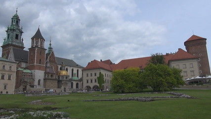 View of Wawel Castle in Kraków in Poland