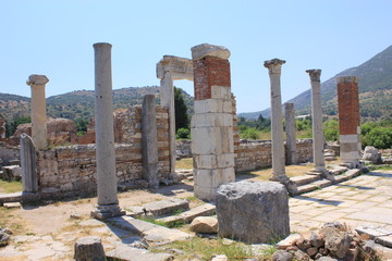The ruins of the Roman city of Ephesus in Turkey