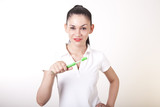 Young attractive girl with toothbrush