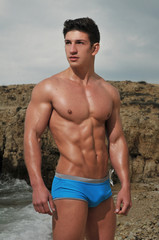 Male model on the beach