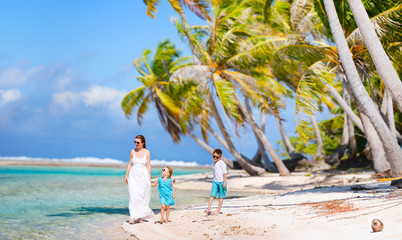 Mother and kids on tropical vacation