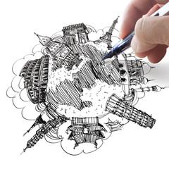 hand drawing the dream travel around the world