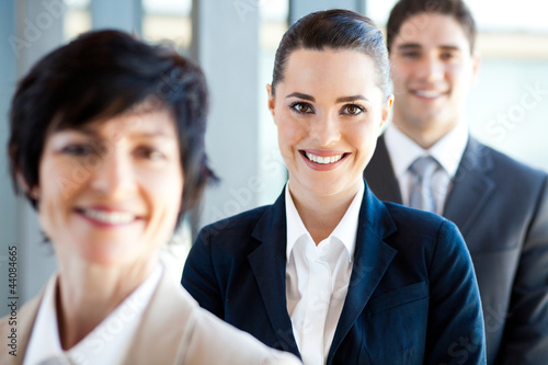 pretty businesswoman and co-workers portrait