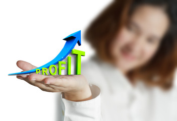 businesswoman hand shows success graphic