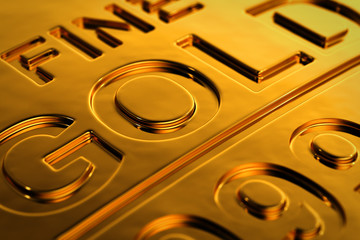 Close up view of a gold bar with selective focus