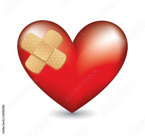 heart with adhesive bandage