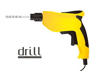 Illustration  of a drill isolated
