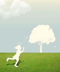 Paper cut of child on green grass with tree in the sky concept