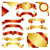 set of red and gold ribbon