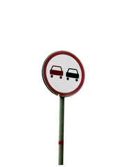 Warning sign about two car on the white background isolated