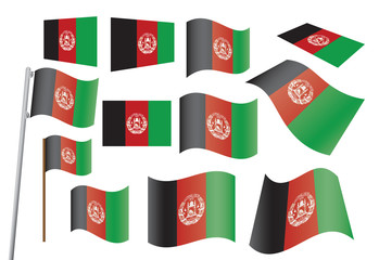 set of flags of Afghanistan vector illustration