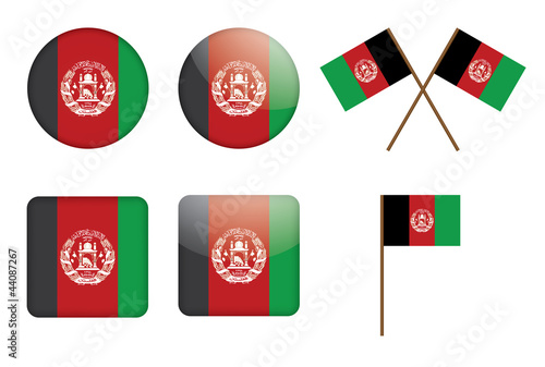 set of badges with flag of Afghanistan vector illustration