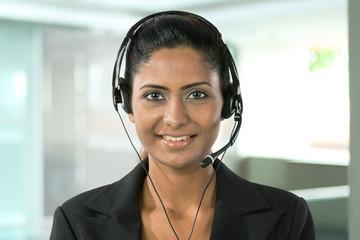 Pretty Indian call center employee.
